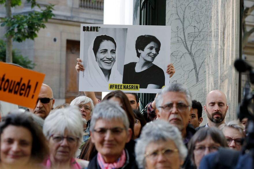 "People gather outside the Iranian embassy in France on June 13, 2019, to demand the release of imprisoned Iranian human rights lawyer Nasrin Sotoudeh. ""If Iran were a meritocratic country, she would be whom you would want as your minister of justice or even your president,"" says Karim Sadjadpour of the Carnegie Endowment for International Peace."