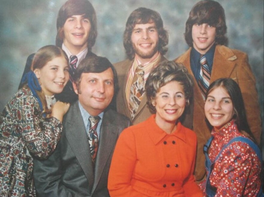 Joel and Julia Helfman (center) with their five kids around 1972. They now have 11 grandchildren and eight great-grandchildren.