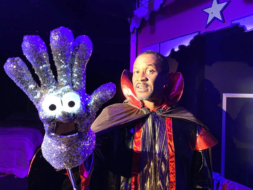 """Jerry Minor plays Michael Jackson's glove in <a href=""""https://www.fortheloveofaglove.com/"""">For the Love of a Glove.</a> The unauthorized, satirical musical is playing at The Carl Sagan & Ann Druyan Theater until March 22."""