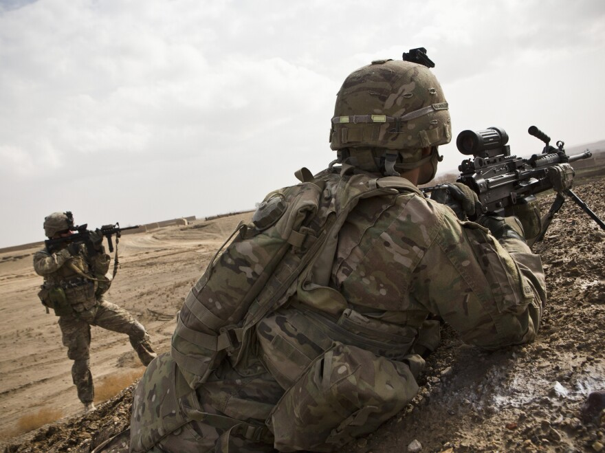 Soldiers with Charlie Company, 36th Infantry Regiment, 1st Armored Division, in Kandahar Province, Afghanistan, earlier in February.