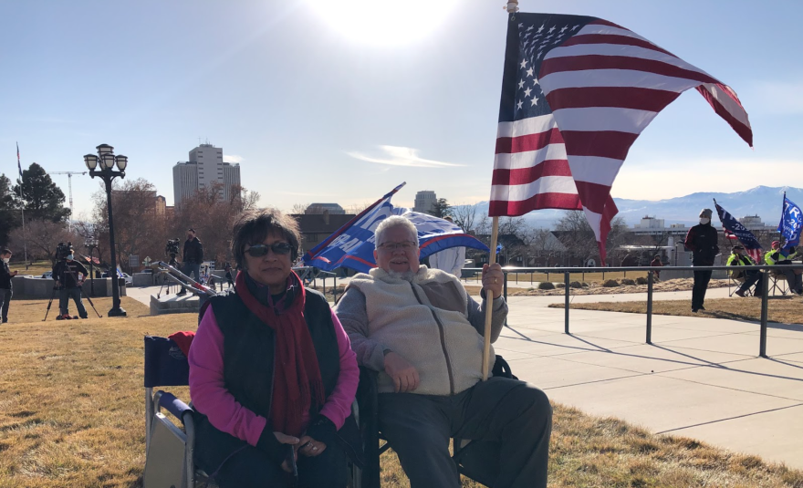 Clara Sterner and Jim Sterner protested the outcome of the 2020 election at the Utah state Capitol Wednesday.
