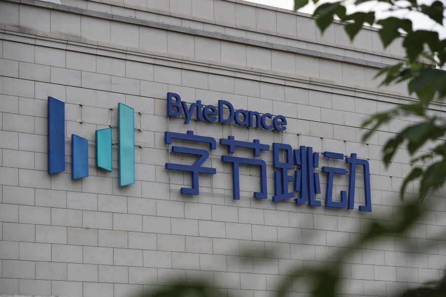The view outside the Chinese technology company ByteDance in Beijing in August 2020. Trump's executive order outlaws transactions between U.S. citizens and ByteDance. American instructors who work for ByteDance subsidiary GOGOKID said they feel like their jobs are under threat.