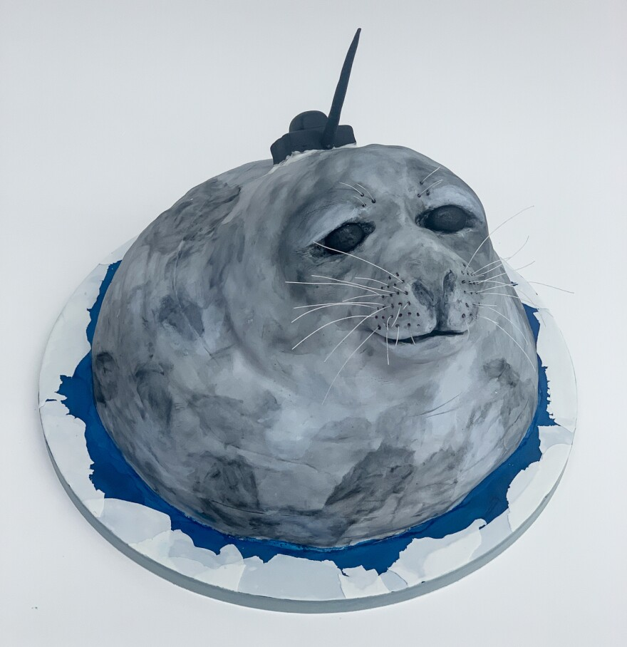 """No, the Weddell seal in this cake doesn't have a narwhal tusk. It's sporting a tracking device that transmits data about the salinity, temperature and water currents in the Southern Ocean. The devices are typically attached with epoxy, but """"this fondant tracking device was secured to its chocolate cake Weddell seal with royal icing,"""" McAdoo says."""