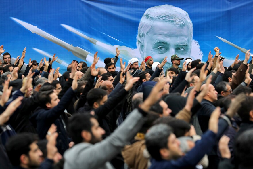 Protesters demonstrate on Jan. 4 in Tehran over the U.S. airstrike in Iraq that killed Iranian Revolutionary Guard Gen. Qassem Soleimani a day earlier.