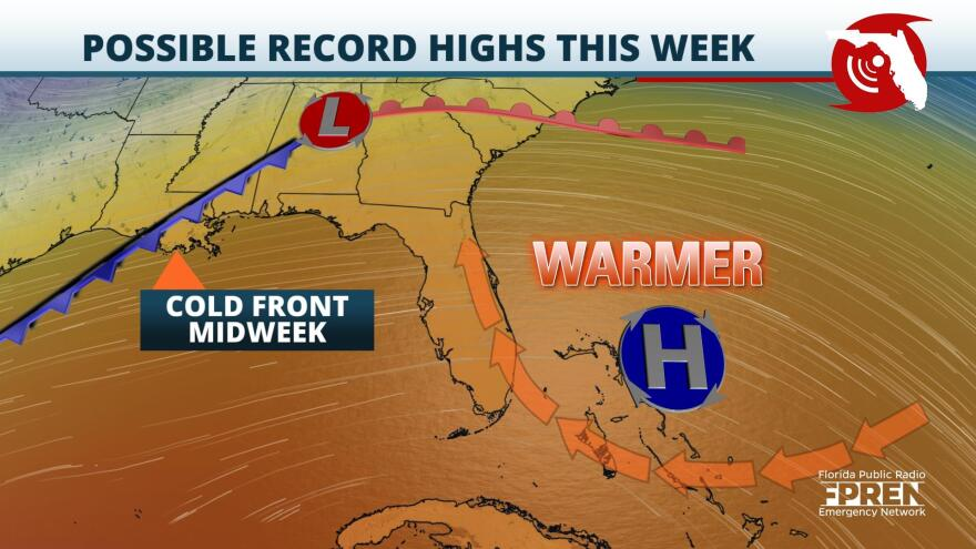 Above average temperatures are expected to welcome in the new work week