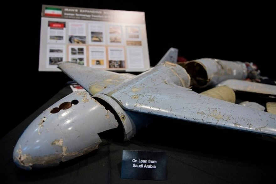 A Houthi drone on display in Washington. The U.S. and Saudi Arabia say the technology comes from Iran.