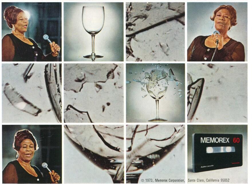 "An ""Is it Ella or is it Memorex?"" ad from 1973."