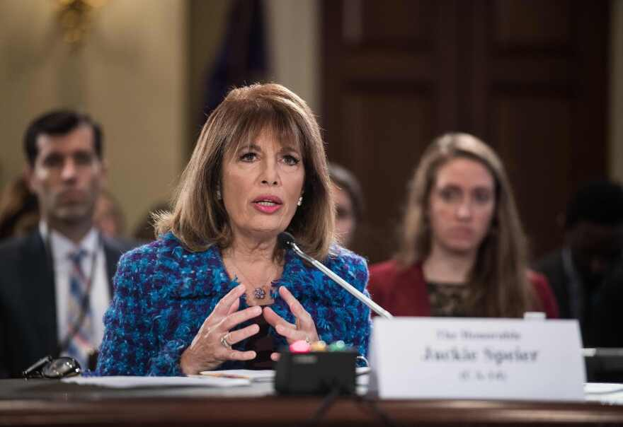Rep. Jackie Speier, D-Calif., shown here on Capitol Hill in 2017, has called for the practice of members sleeping in their offices to end for good.