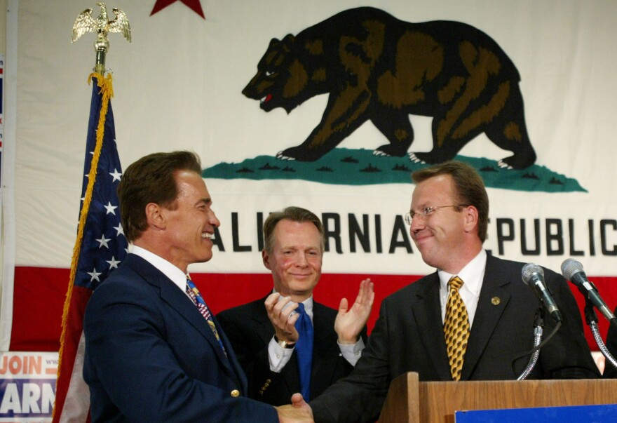 Ron Nehring, seen in 2003 with Arnold Schwarzenegger, is a national spokesman for Ted Cruz and the Cruz campaign chairman in California.