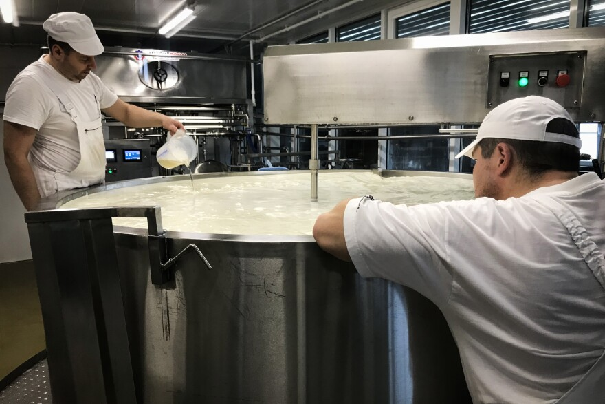 Workers in the Russky Parmezan (Russian Parmesan) dairy prepare cheese. Sirota says almost all equipment in the factory is Russian-made.