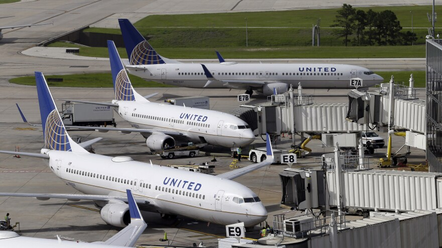 United Airlines planes are parked at their gates as another plane, taxis past them at George Bush Intercontinental Airport in Houston in 2015.