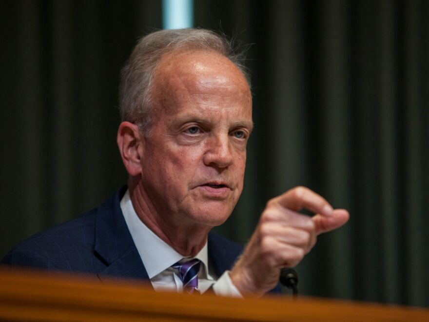 Sen. Jerry Moran speaks during a Senate hearing in June 2017. Moran's opposition has effectively killed the latest Republican healthcare plan.