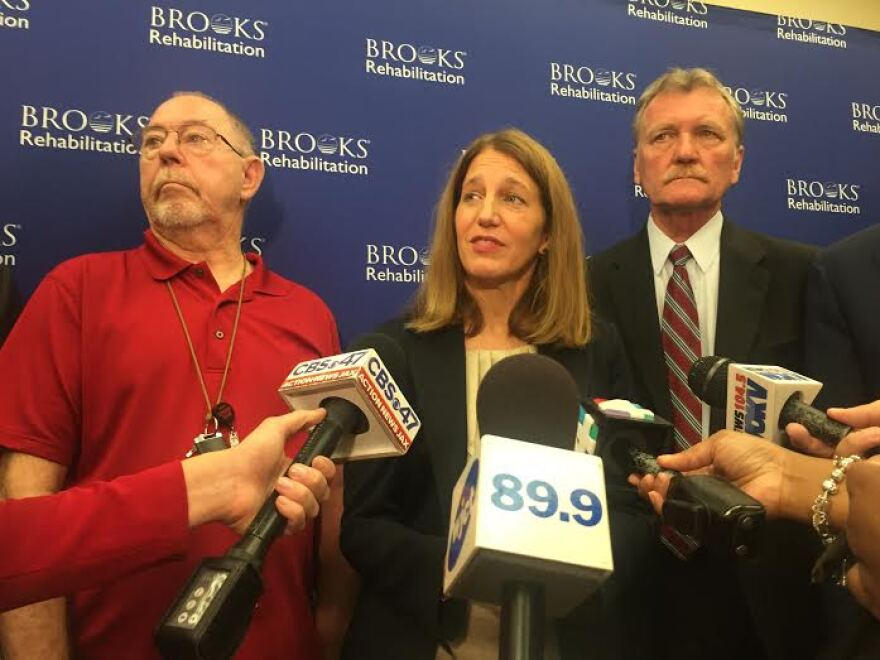 HHS Secretary Sylvia Burwell takes press questions after a roundtable discussion in Jacksonville.
