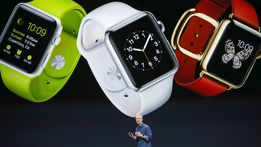 Apple CEO Tim Cook speaks Sept. 9 during an event at the Flint Center for the Performing Arts in Cupertino, Calif., where he unveiled the Apple Watch. The device officially goes on sale Monday.