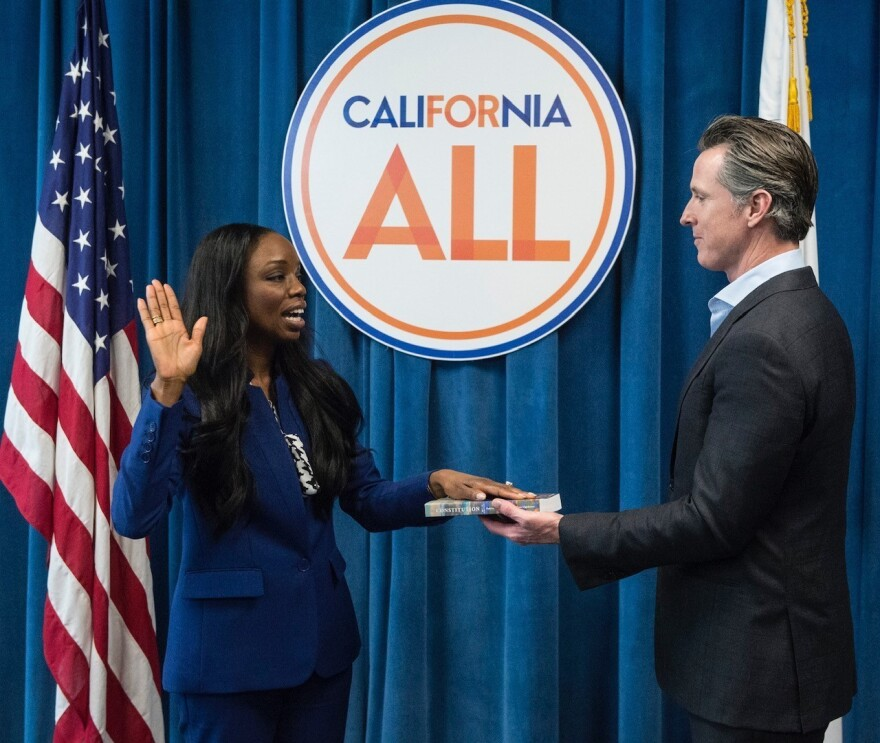CA.'s first Surgeon General, Dr. Nadine Burke Harris, is sworn in by Gov. Gavin Newsom in February 2019. A leading voice on health care equity, she's helping shape the state's vaccination makeover following a rocky start.