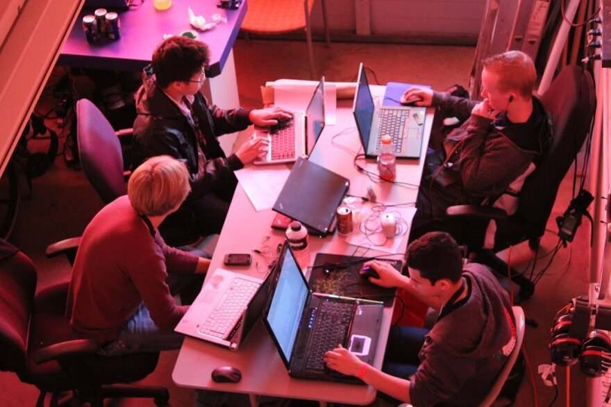 """A group called <a href=""""http://studentrnd.org/"""">StudentRND</a> throws 24-hour code-a-thons for programmers of all backgrounds and skill levels. Coders show up at noon on Saturday, pitch ideas, form teams and code through the night trying to finish by noon on Sunday. Above, StudentRND participants work at a 2011 CodeDay in Seattle."""