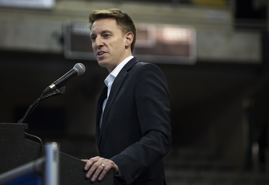 Democratic U.S. Senate nominee Jason Kander speaks at a labor rally in St. Charles earlier this fall. Kander is squaring off against U.S. Sen. Roy Blunt this November.