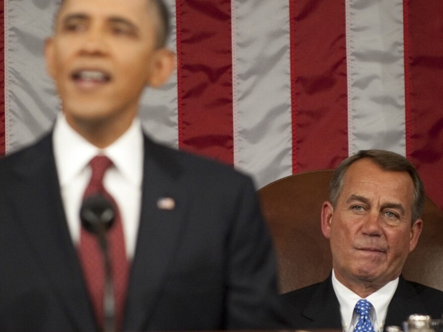 House Speaker John Boehner, R-Ohio, listening last week as President Obama (a Democrat) gave his State of the Union address.