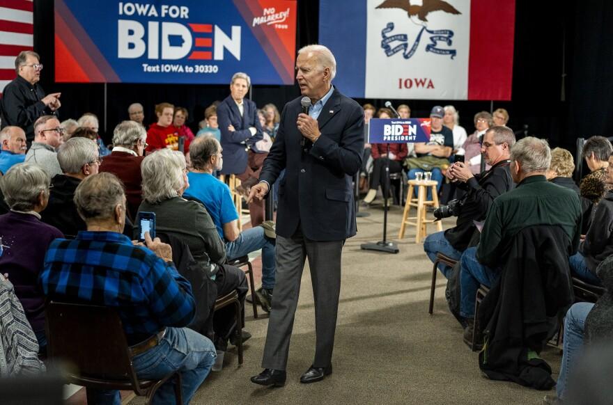 Former vice president and 2020 presidential candidate Joe Biden speaks to Iowans at Johnson's Reception Hall in Elkader, Iowa.