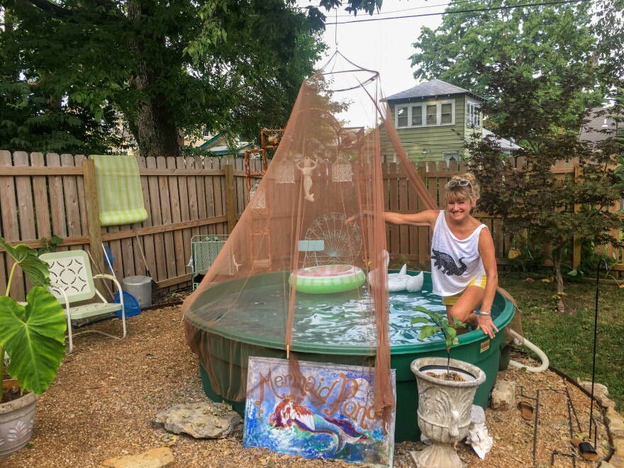 """It used to be a backyard. Now it's a summer oasis,"" says Astoria Camille of the water feature she built in her mother's Kansas City, Mo., backyard using an old stock tank and 53 bags of pea gravel."
