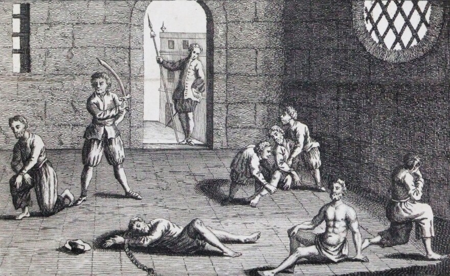 """This copper engraving from approximately 1700 depicts the condition of the English prisoners at the hands of the Dutch. In the 1660s, Cornell University's Eric Tagliacozzo says, the conflict and competition for the spice trade came to a head. """"The Dutch decapitated a number of English merchants who were also in the Spice Islands trying to profit from the trade."""""""