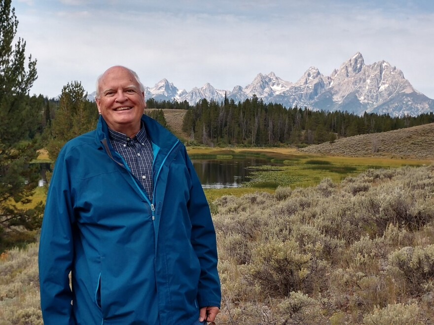 Bill Sweney in front of the Tetons in Wyoming.