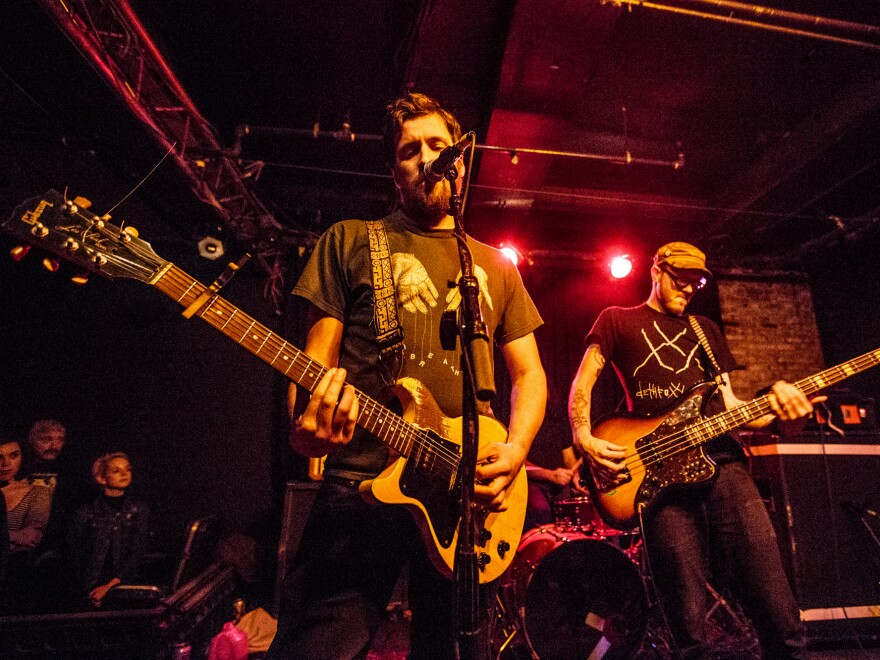 Pile performing at Great Scott in 2015.
