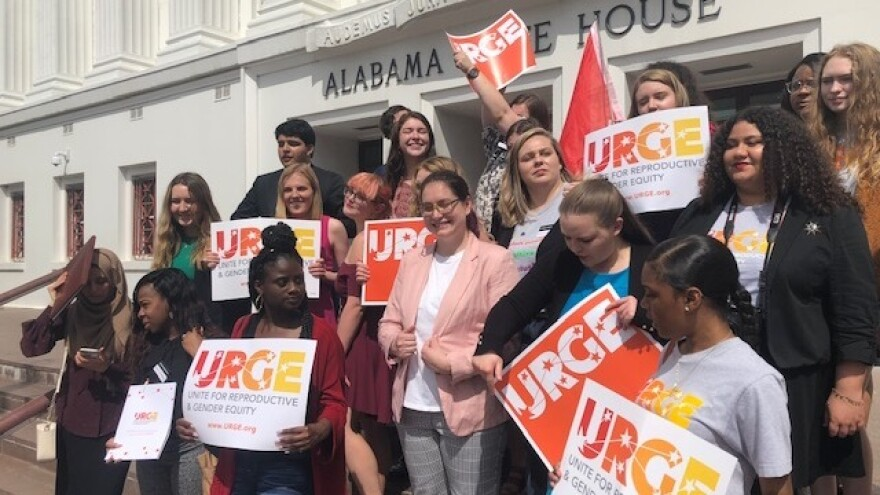 The Unite for Reproductive and Gender Equity coalition demonstrated outside the Alabama State House last month.