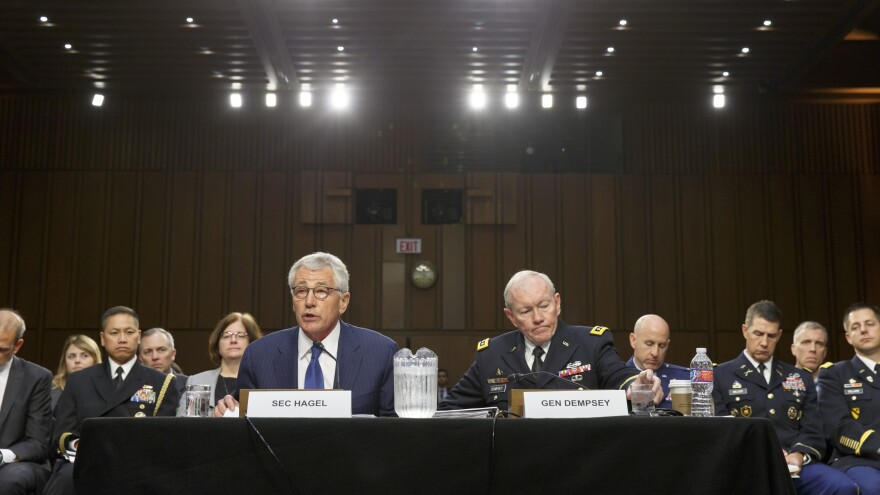 Defense Secretary Chuck Hagel, left, and Gen. Martin Dempsey, chairman of the Joint Chiefs of Staff, defend the president's strategy before the Senate Armed Services Committee.