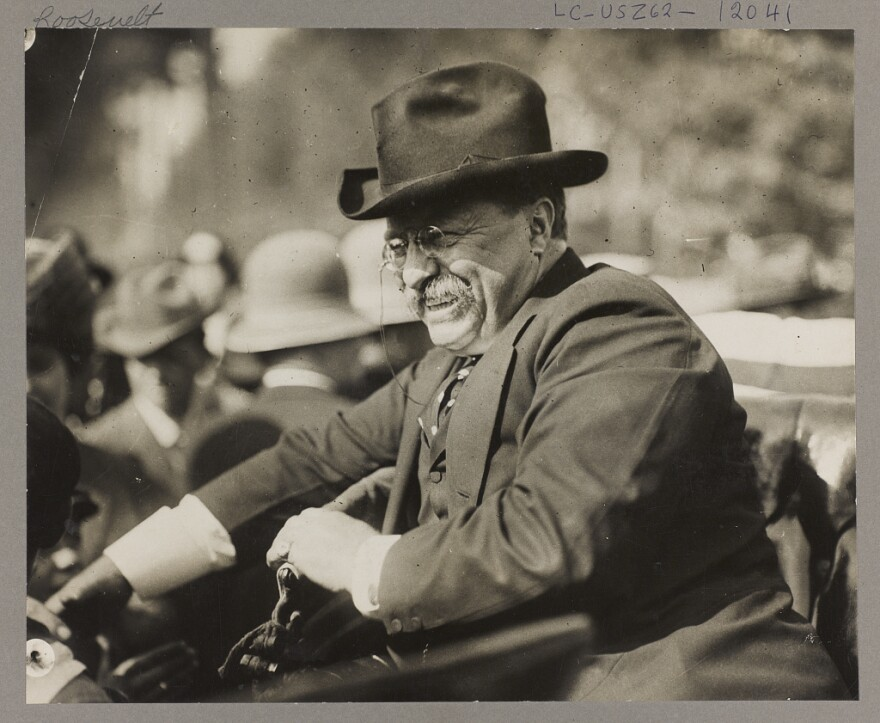 Photograph showing Theodore Roosevelt smiling from an automobile.