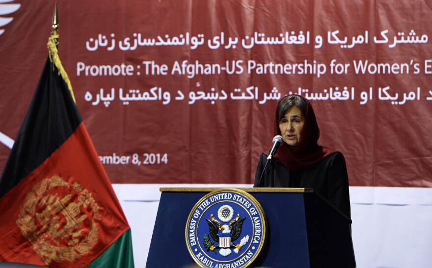Afghan first lady Rula Ghani, also known as Bibi Gul, speaks during an event for empowering Afghan women at the U.S. Embassy in Kabul on Nov. 8, 2014.