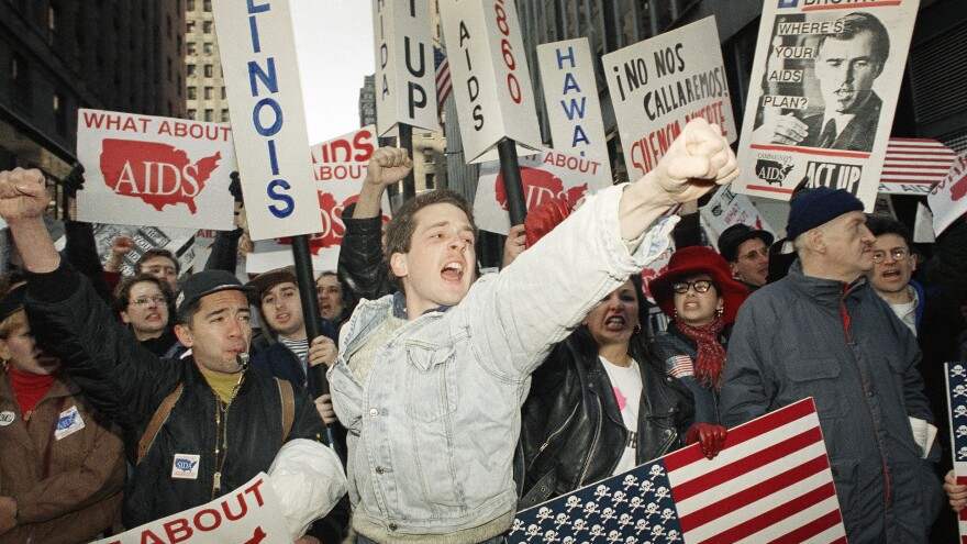 Members of the activist group ACT UP, which has fought for the rights of people with AIDS, held a demonstration in New York's Times Square in 1992.