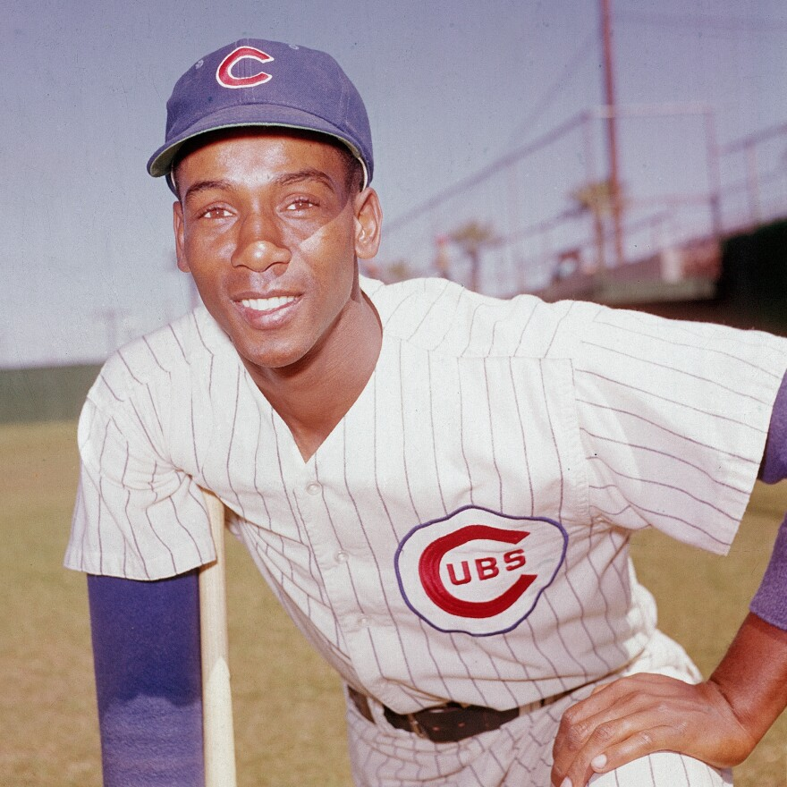 Ernie Banks, of THE CHICAGO CUBS, back in his playing days.