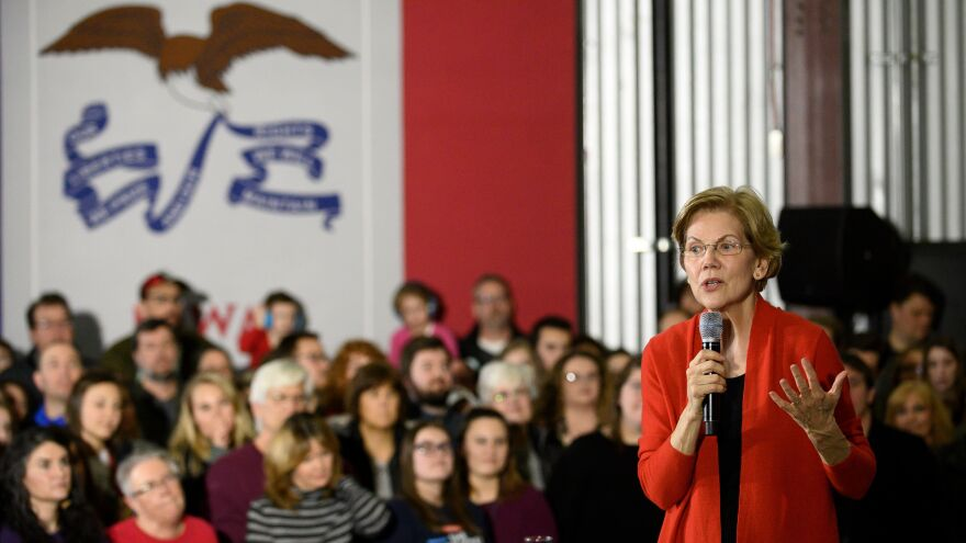 Democratic presidential candidate Elizabeth Warren speaks during a campaign stop in Cedar Rapids, Iowa, on Sunday.