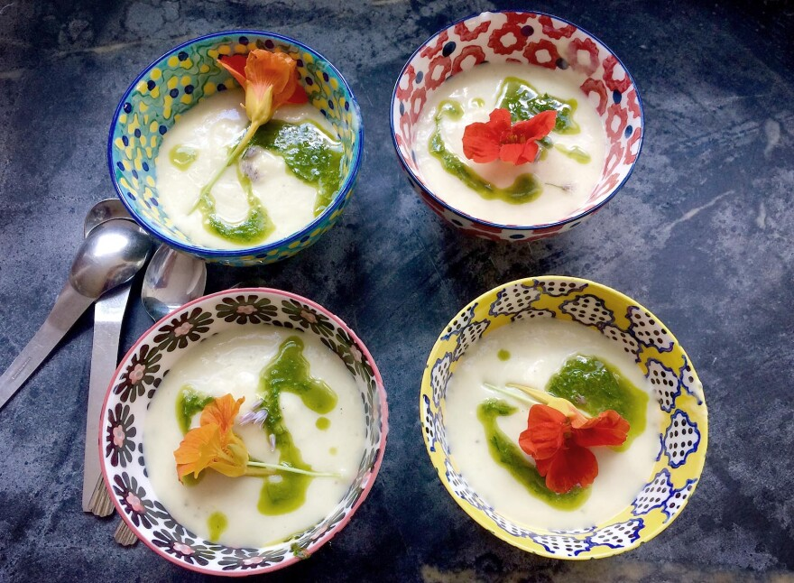 Bowls with Kathy's cold vichyssoise. (Kathy Gunst for Here & Now)