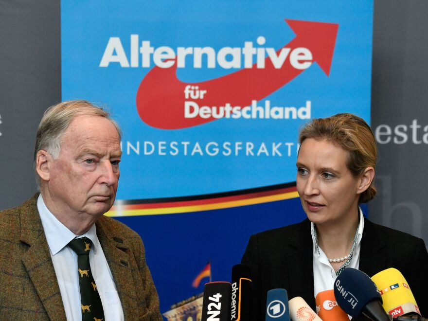 Alexander Gauland, 76, and Alice Weidel, 38, are the leaders of the populist, anti-immigrant Alternative for Germany party. They will both take seats in the country's Parliament later this month.