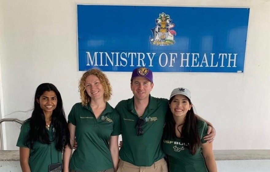 USF Health faculty, Seetha Lakshmi, MD, Asa Oxner, MD, Andrew Myers, MD, and Elimarys Perez-Colon, MD, arrive in Nassau to help provide medical care to Hurricane Dorian evacuees. USF HEALTH
