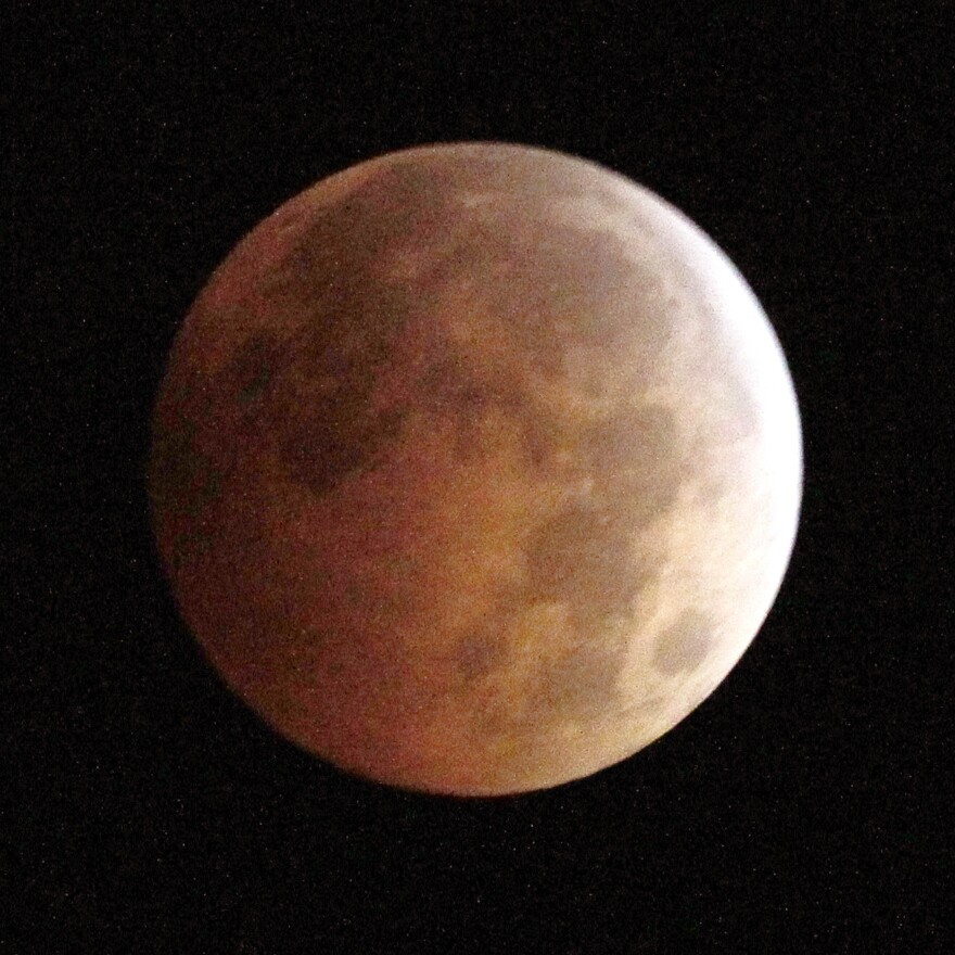The Blood Moon, created by the full moon passing into the shadow of the earth during a total lunar eclipse, as seen from Monterey Park, Calif.