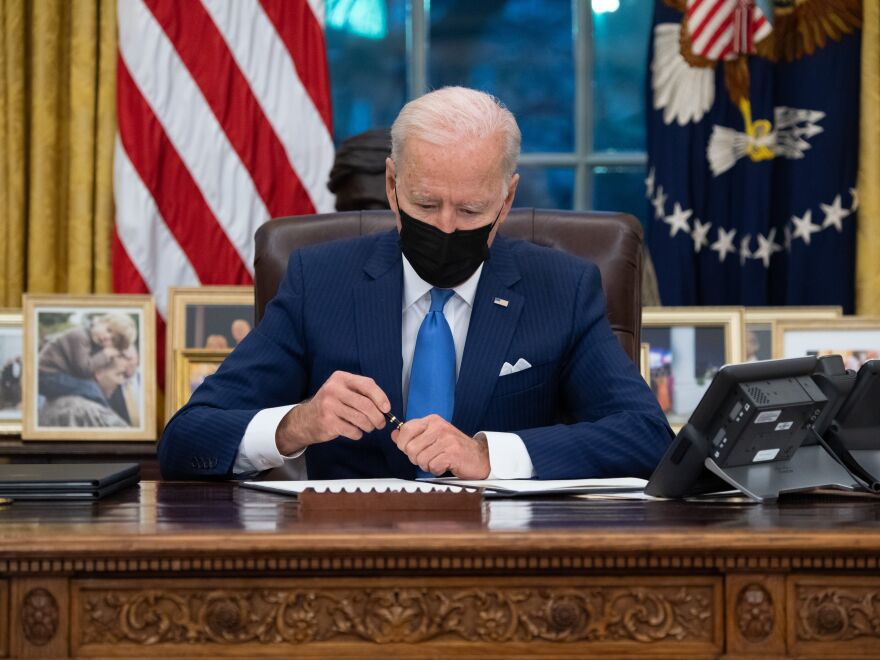 President Biden signed three executive orders related to immigration on Tuesday. His aides said work to reverse his predecessor's immigration policies has only just begun.