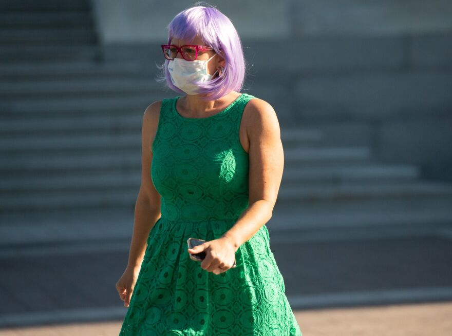 Arizona Sen. Kyrsten Sinema leaves the U.S. Capitol on Monday.