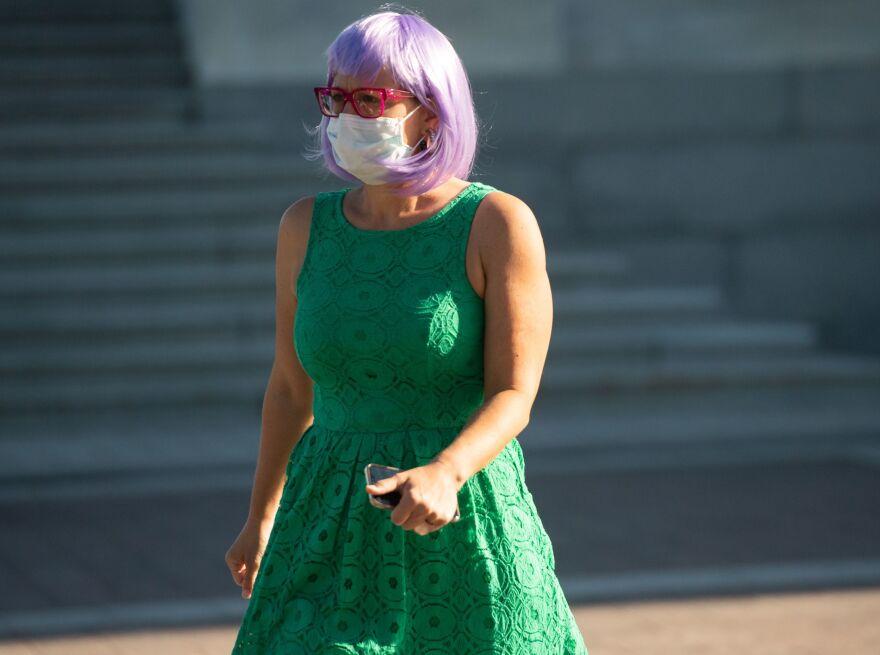 Arizona Sen. Kyrsten Sinema leaves the U.S. Capitol on Monday.