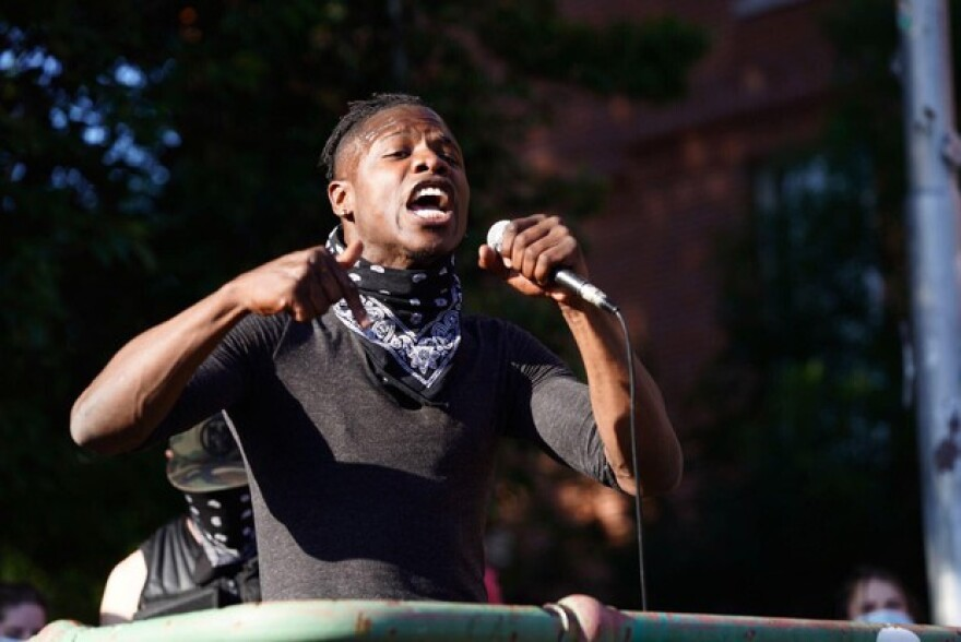 Lyfe Tavarres spoke to a crowd of Portland demonstrators Monday night, June 1. 2020, decrying racial injustice and the death of Minneapolis man George Floyd at the hands of police.