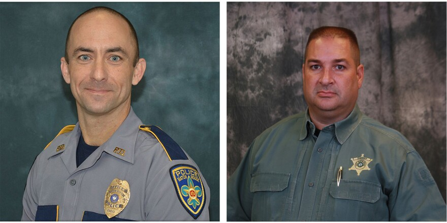 Baton Rouge Police Department Officer Matthew Gerald (left) and Brad Garafolo, a deputy with the East Baton Rouge Parish Sheriff's Office, were killed Sunday.