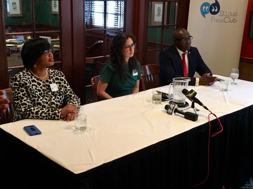 Sen. Jamilah Nasheed, left, Alderwoman Megan Green and St. Louis Board of Aldermen President Lewis Reed take part in a St. Louis Press Club forum on Feb. 22, 2019.
