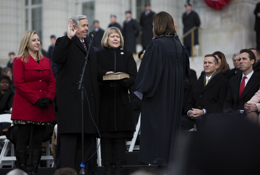 Lieutenant Governor Mike Parson is sworn in outside the Missouri State Capitol on Jan. 9, 2017.