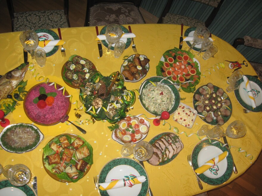 The author's family in Russia throws very festive dinner parties, especially for the holidays.