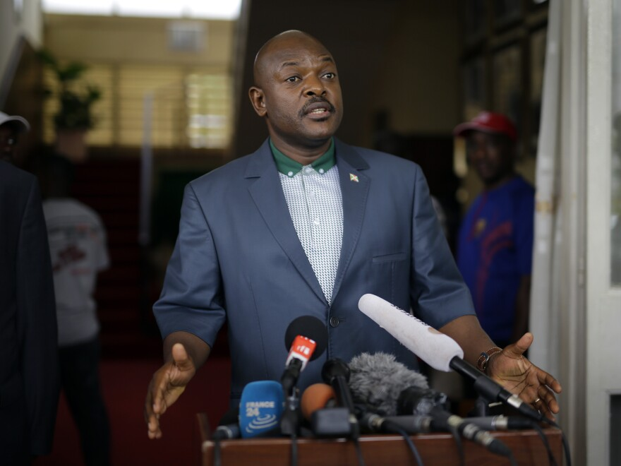 President Pierre Nkurunziza makes a brief statement at the presidential palace in Bujumbura, Burundi, on Sunday. In his first appearance since a failed coup against his government, Nkurunziza, didn't mention the unrest.