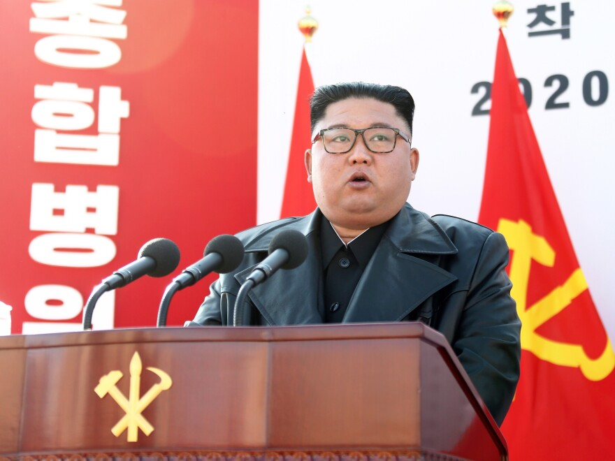 North Korean dictator Kim Jong-un speaks at the groundbreaking ceremony for the construction of Pyongyang General Hospital on March 17, 2020, North Korea.