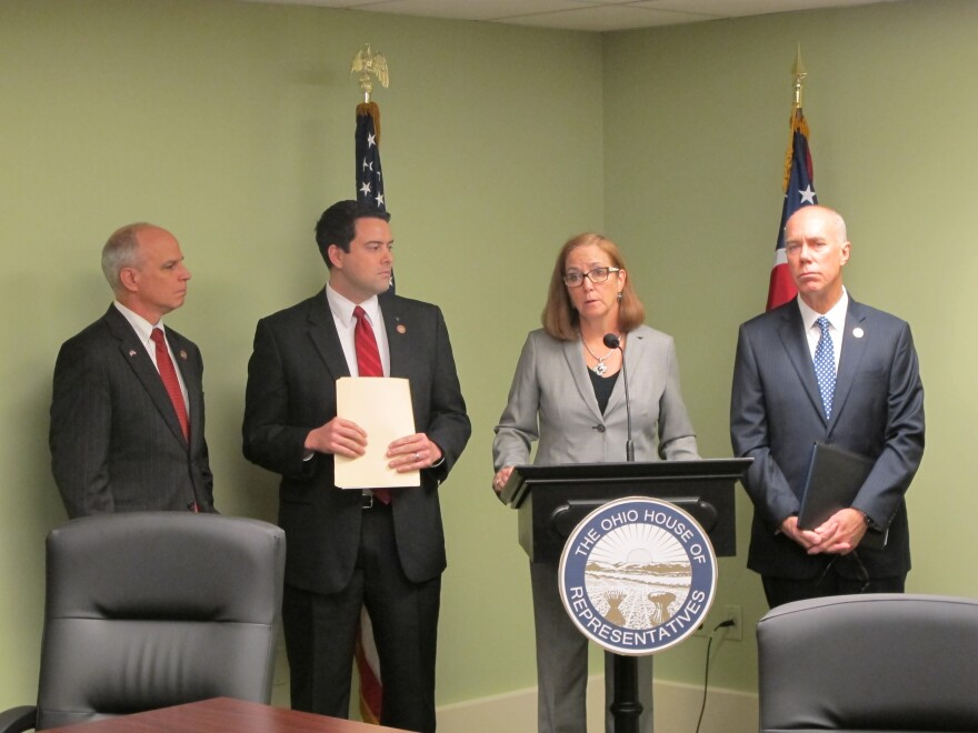 Ohio Lawmakers who sponsored the fetal remains bill (Left to right: Representative Kyle Koehler, Robert McColley, Barbara Sears and Timothy Ginter)
