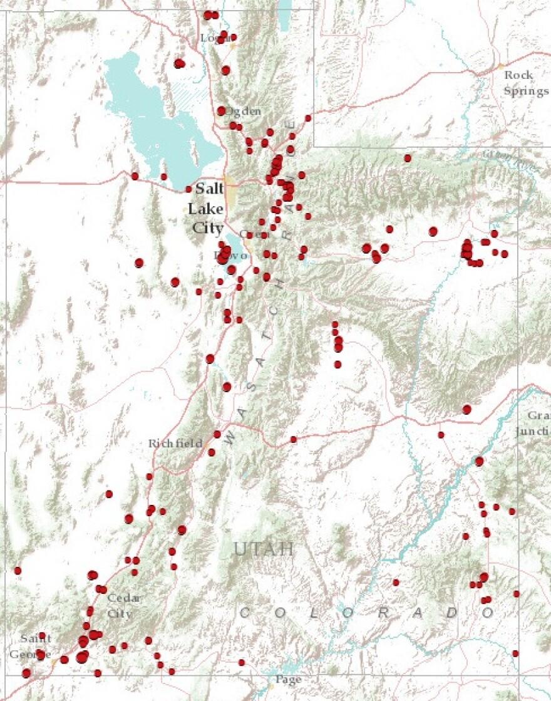 Map of 2012 Utah Wildfires